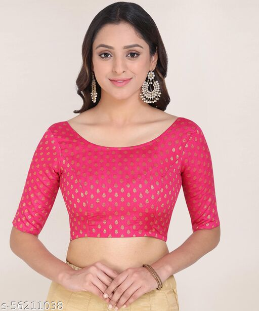 Oomph! Jacquard Deep Back Blouse - Pink - rbbl08