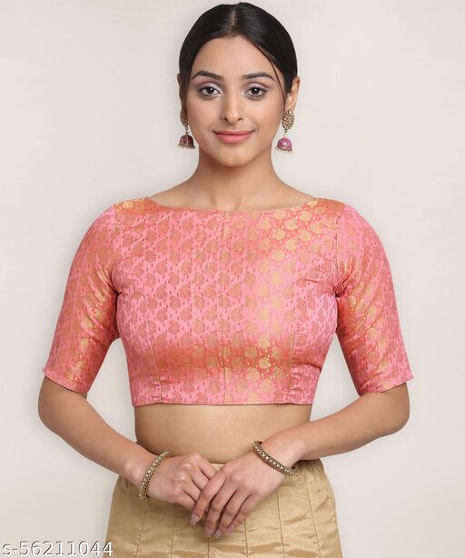 Oomph! Jacquard High Back Blouse - Pink - rbbl17