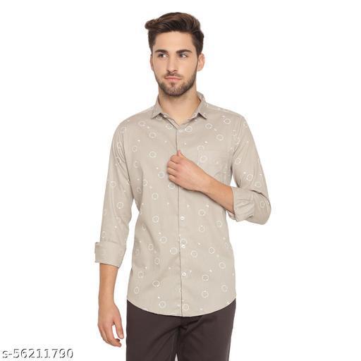 Kevin Swift Printed Full Sleeve 100% Cotton Shirt - Oat Beige - rt47beige