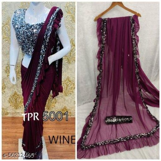 Wine Georgette Partywear Saree With Sequence Blouse