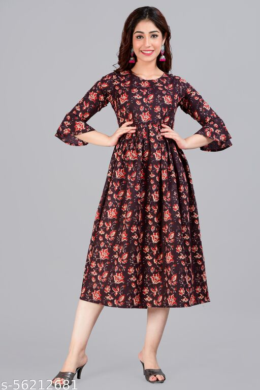 NIARA APPAREL Women's Fit & Flare Knee Length Midi Dress for Women