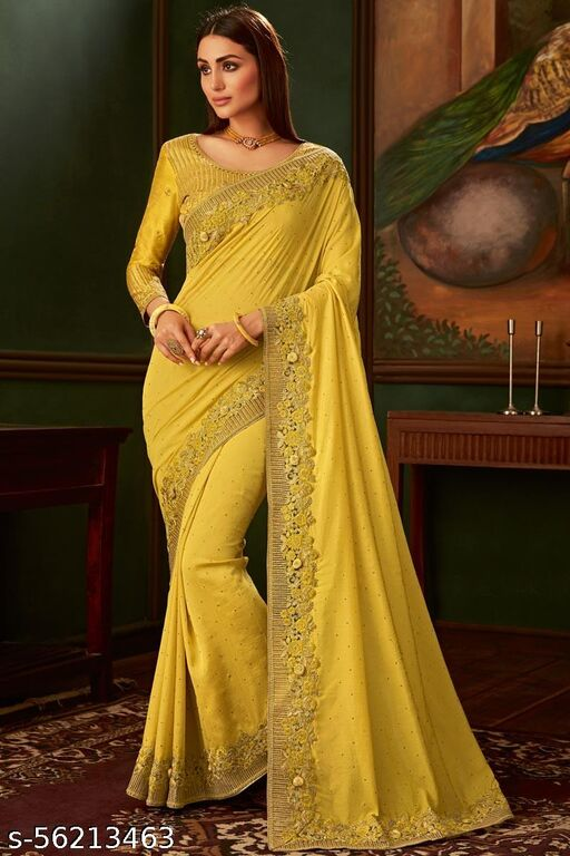 Chiffon Designer Saree In Olive Green Colour
