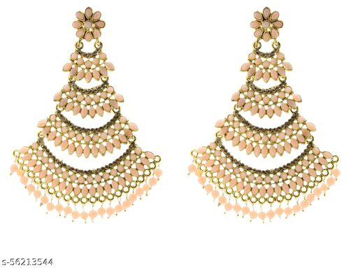 Fashionhaat Latest collection Ethnic  jhumka earrings for Girls and woman ( Peach )(11 cm Length)