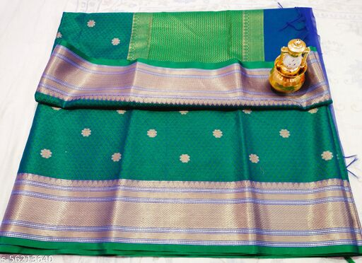 Exclusive fancy ethnic Wear banarsi soft kora muslin silk saree collection with zari woven and meena woven into the overall saree