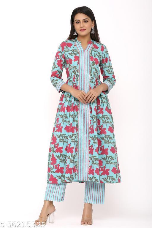 DURVI Women Pure Cotton Printed Kurta and Pant Set