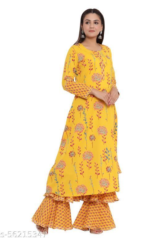DURVI Women Pure Cotton Printed Kurta and Sharara Set