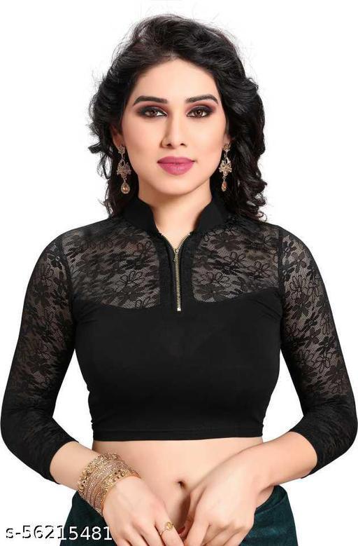 DDH  Girl's &  Women's Cotton Lycra Blend Readymade Band Collar 3/4 Sleeve Blouse