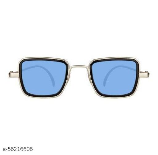 Unisex Kabir Singh Square Silver Sunglasses (BLUE), Medium