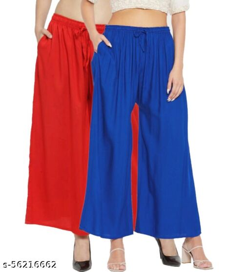 TNQ Palazzo Pants for Women Rayon Full Flared Free Size   for Any Kurti   Ethnic Wear (Combo Pack of 2 Pcs)