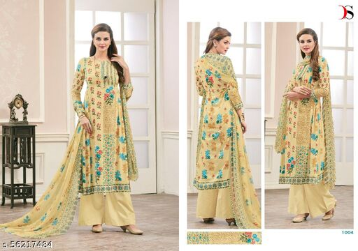 cotton semi stitch suit for women casual and traditional wear lemon yellow color