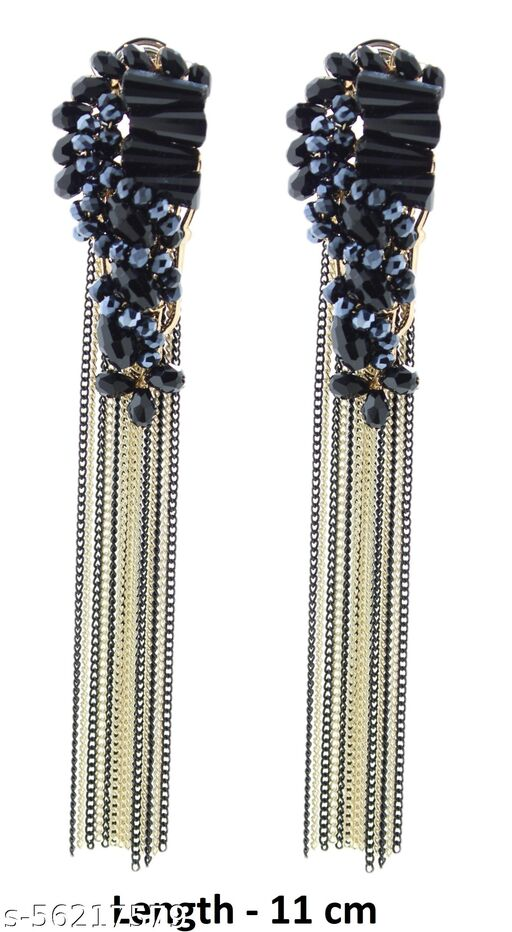 Fashionhaat Exclusive ChainTassel and Crystal Collection Earrings for Women Crystal Alloy Screw Earring (Blue Pearls) Crystal Alloy Drops & Danglers (Black)