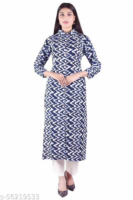 Sita Feb-Rayon Shirt Collar Blue Solid Women's Straight Kurti