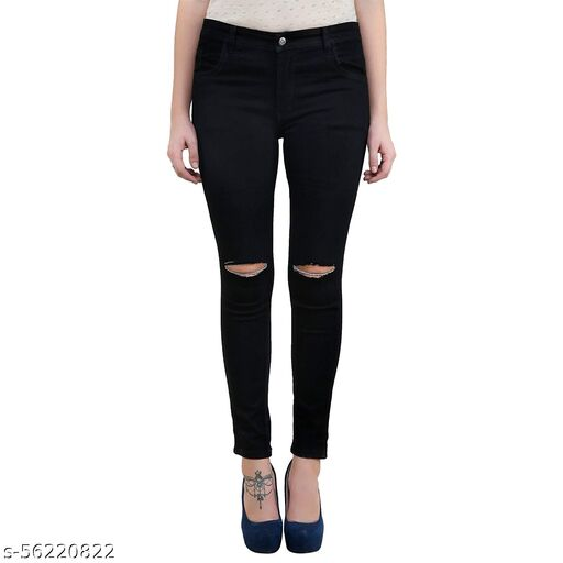 MM-21 Knitted Denim Knee Cut Skinny Fit Jeans For Women