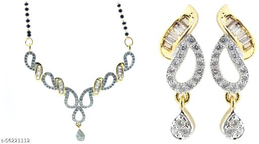 Fashionhaat AD  Studed Fancy  Gold Plated Mangalsutras with earrings