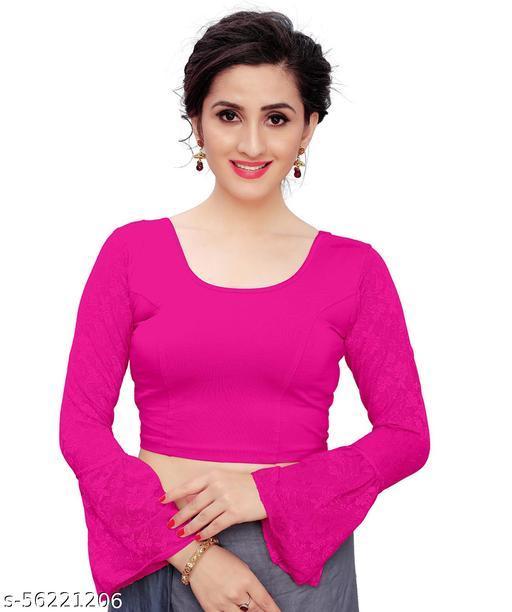 DDH  Girl's &  Women's Cotton Lycra Blend Readymade Full Sleeve Blouse