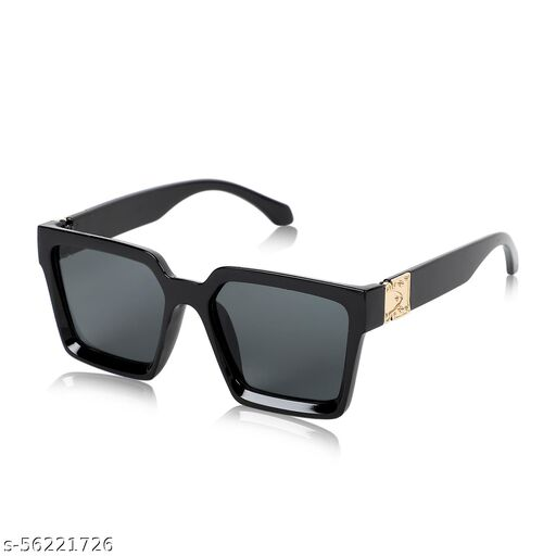 ALCHIKO Unisex Square Retro Sunglass / Polarized Sunglass / Vintage Fashion Sunglass with UV Protection, Square Black Frame, Black Lens