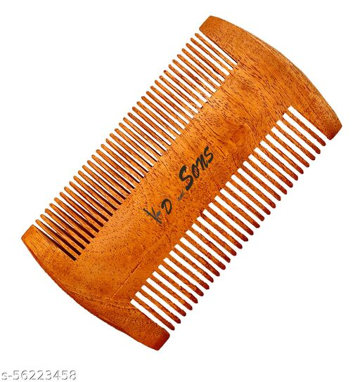 kd and sons natural unisex 100% pure Anti-Dandruff neem wood comb for scalp massage (5.8 inch, wide tooth) for hair growth,for men and women