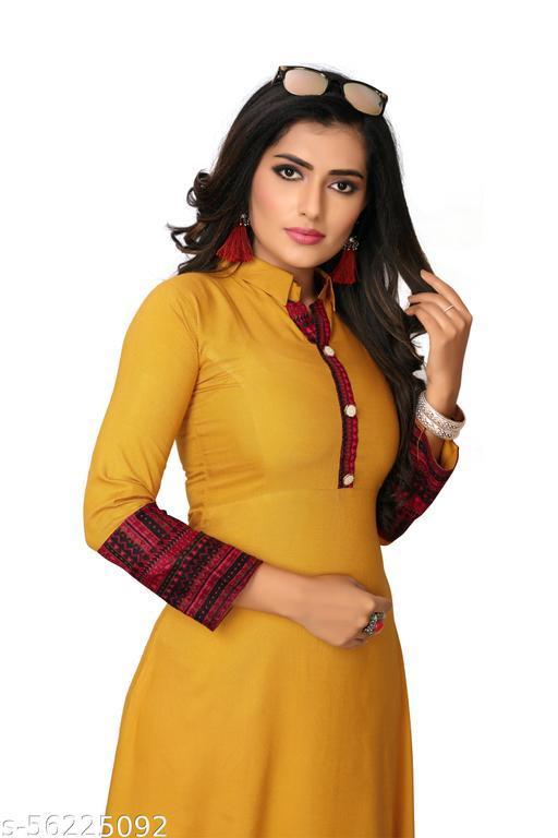 KRT 104 Women Solid Rayon Anarkali Kurta  (Yellow)