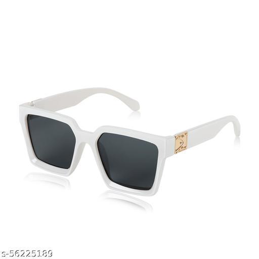 ALCHIKO Unisex Square Retro Sunglass / Polarized Sunglass / Vintage Fashion Sunglass with UV Protection, Square White Frame, Black Lens