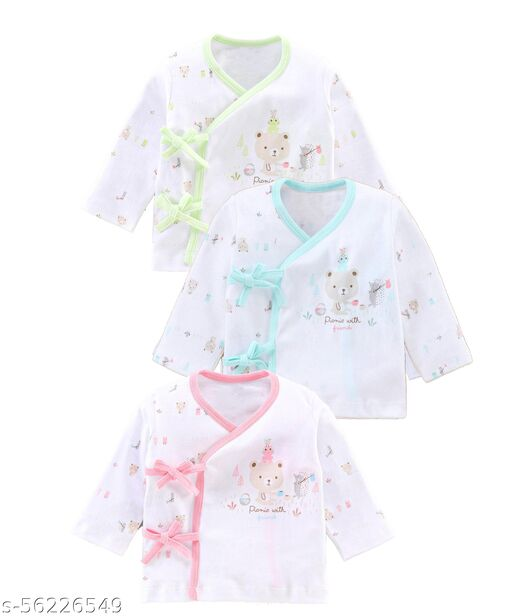 ANGAAKAR CLOTHINGS Baby Boy's and Baby Girl's Printed Cotton Innerwear Toddler Full Sleeve Bundy Front Open Vest for Kids Shirt 0-1 Months Pack of 3