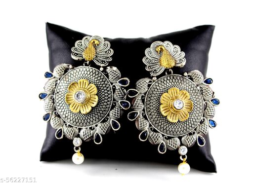 Devkinandan Enterprises Peacock Big Round Oxidized Silver Earring For Girls and Womens