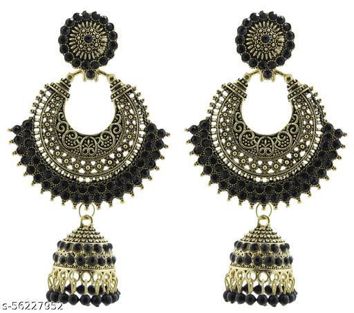 Fashionhaat Latest collection chandbaali jhumka earrings for Girls and woman ( Black )