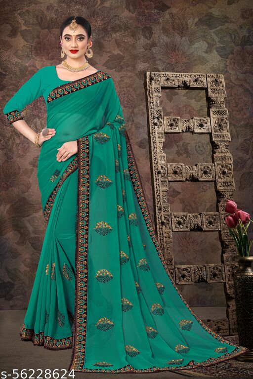Designer rama saree with embrodeiry work and stone