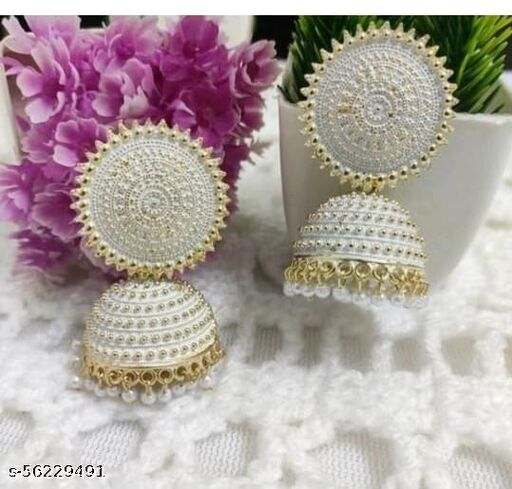 Fashionhaat Latest collection Ethnic  jhumka earrings for Girls and woman ( White )