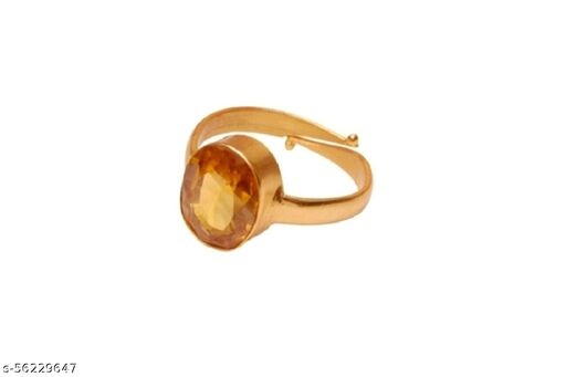 Yellow Sapphire(Pukhraj) 3.25 Ratti Cultured Panchdhatu Adjustable ENERGISED Ring For Girls And Women Certificate Enclosed With Ring