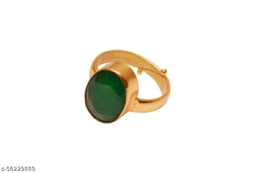 Emerald(Panna) 5.25 Ratti Cultured Panchdhatu Adjustable ENERGISED Ring For Girls And Women Certificate Enclosed With Ring