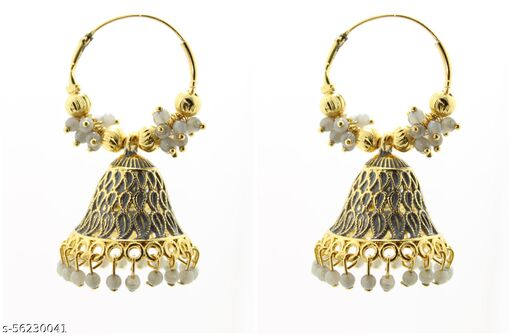 Fashionhaat Latest collection Ethnic  jhumka earrings for Girls and woman ( Grey )