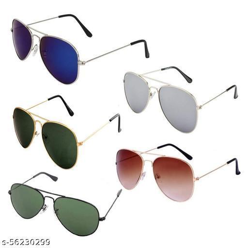 Aviator Sunglasses Blue silver Green Brown Black medium Size 5 Psc Combo