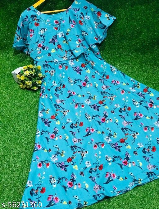 Attractive Flared Crepe Gown