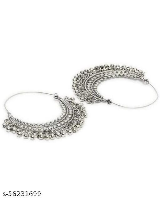Style Oxidized Silver Metal Tarbali Earrings for Women And Girls (Silver)