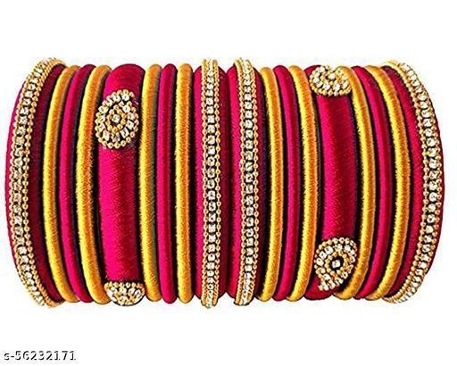 silk dori thread  bangles set of 18 red and golden
