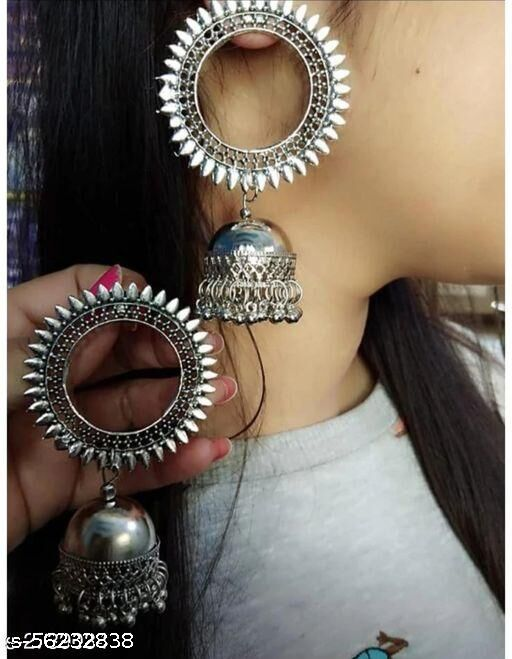 Traditional Oxidized Silver Alloy Round With Earrings for Women & Girls, (Silver)