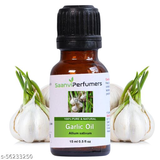 Saanvi Perfumers Garlic Essential Oil, 100% Pure, Natural & Undiluted, 15ml in Glass Bottle - for Skin Infections, Relief in Cold, Cough, for Acne and Pimple Scars, Skin Care & Hair Care  (15 ml)