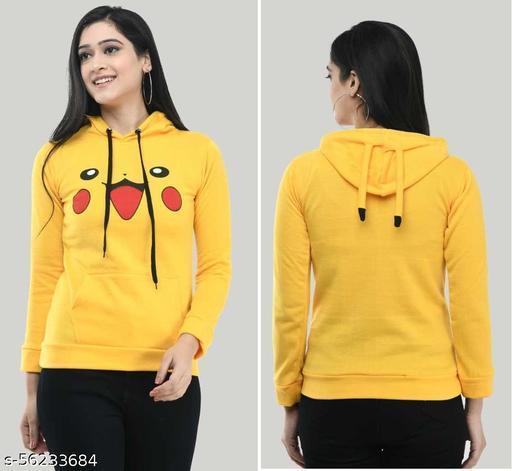 Trendy Full Sleeve Printed Women Sweatshirt/Hoodie Yellow
