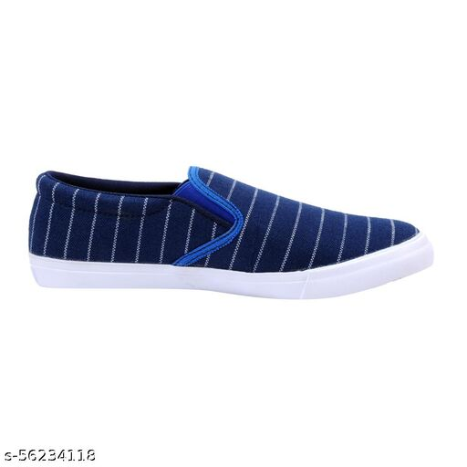 Blue Canvas with ZigZag White loafer