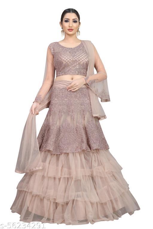 Arvika Nylon Net Dusty Pink Embroidered Floral Wedding Semi-Stitched Lehenga choli with Dupatta