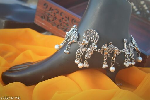 Oxidised Silver Wedding Anklet Pair for Women