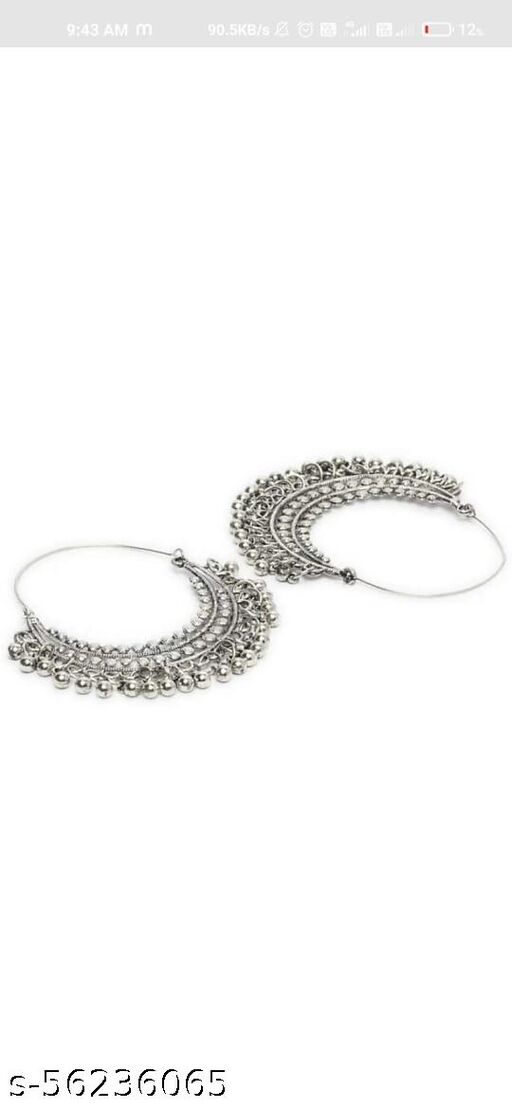 Sterling Silver Oxidized Round Bead Bali Hoop Earrings for Women and Girls  (silver)
