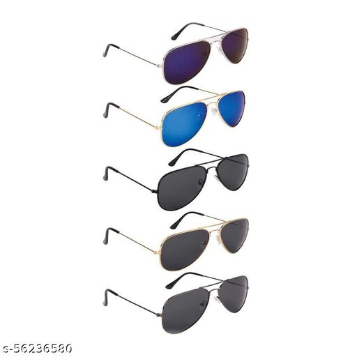 multi color Aviator Sunglasses combo of 5 for men and women, girls and boys