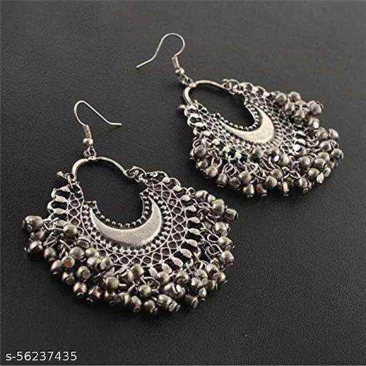 German Silver Single Chandbali Earrings For Women(Silver)