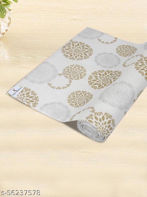 Kuber Industries Rangoli Print PVC Wardrobe Kitchen MatDrawer Cupboard Cabinet Shelf Mat, Shelf Liner 5 Mtr (White)