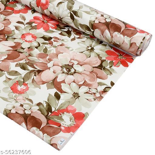 Kuber Industries Flower Print PVC Wardrobe Kitchen Drawer Cupboard Cabinet Shelf Mat, Shelf Liner 10 Mtr (Cream & Red)