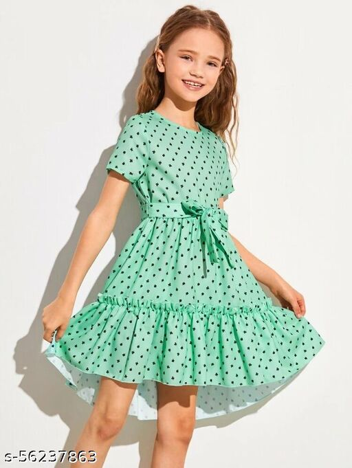 mint green color printed baby gown