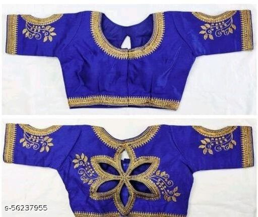 Fashion Fort Silk Blue Color Embroidery Ready made Blouse