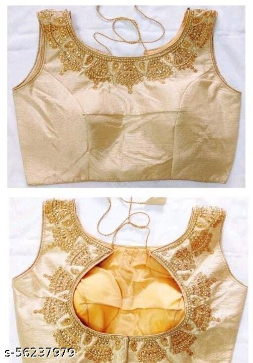 Fashion Fort Silk Gold Color Embroidery Ready made Blouse Piece