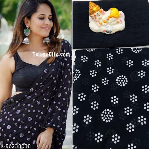 Black Bundi Partywear georgette Saree with Plain Solid Bangalori blouse